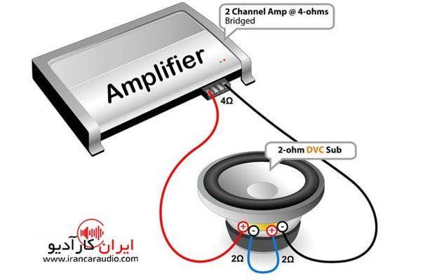 بستن یک ساب دبل کویل 2 اهم با آمپ استریو در حالت بریج و آوردن اهم روی 4